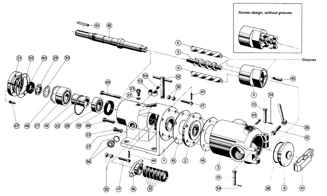 SUP chocolate screw pump spare parts drawing showing all internal components for easy ordering